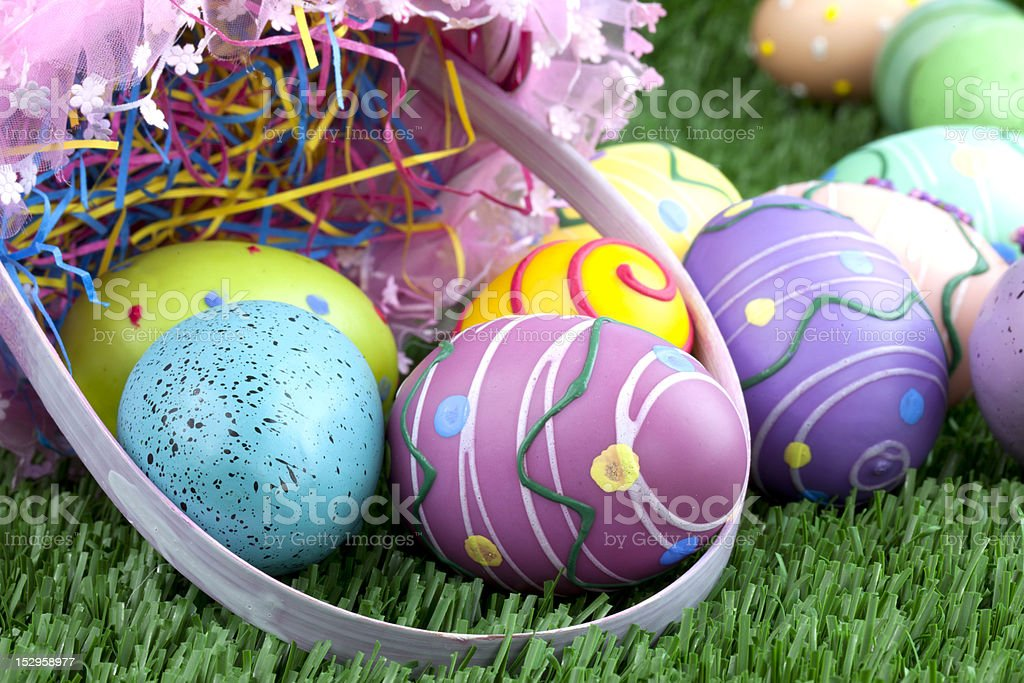 Easter basket and colorful eggs royalty-free stock photo