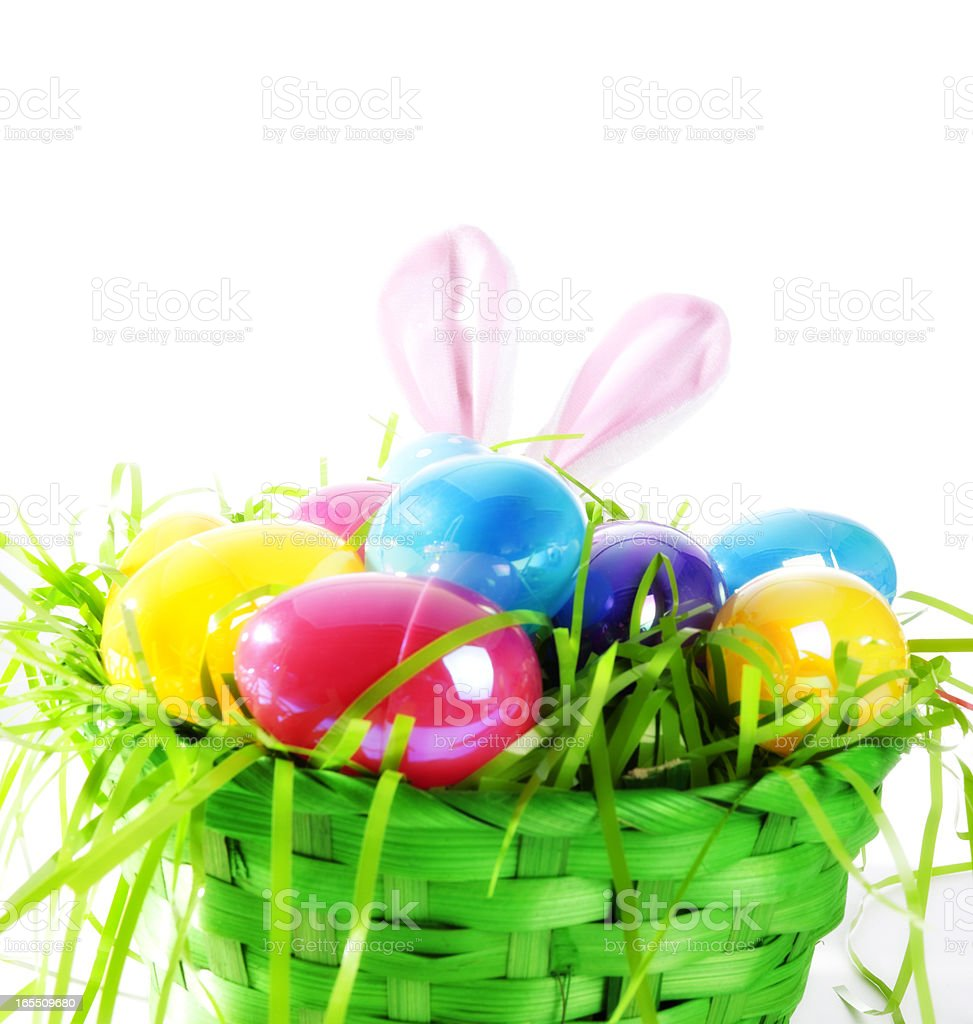 Easter Basket, Eggs and Grass royalty-free stock photo