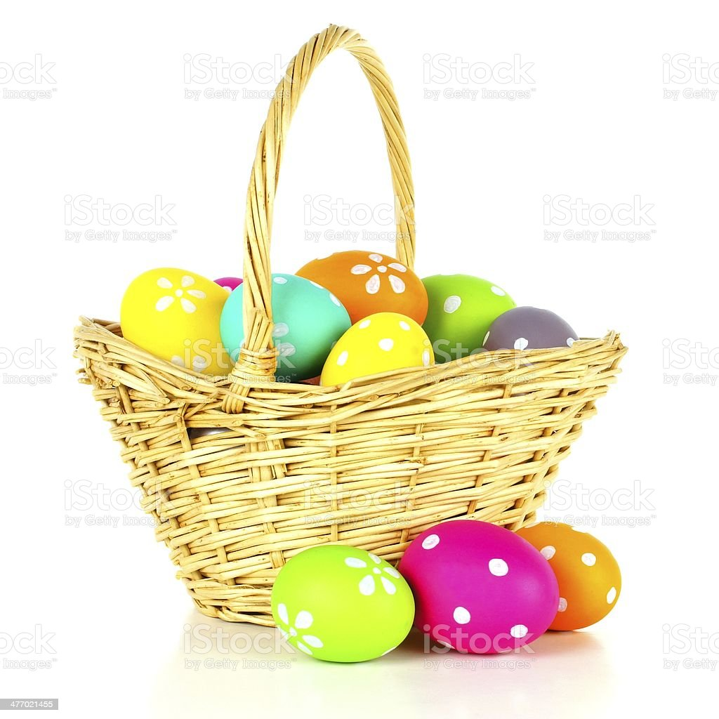 Easter basket filled with colorful eggs over white stock photo