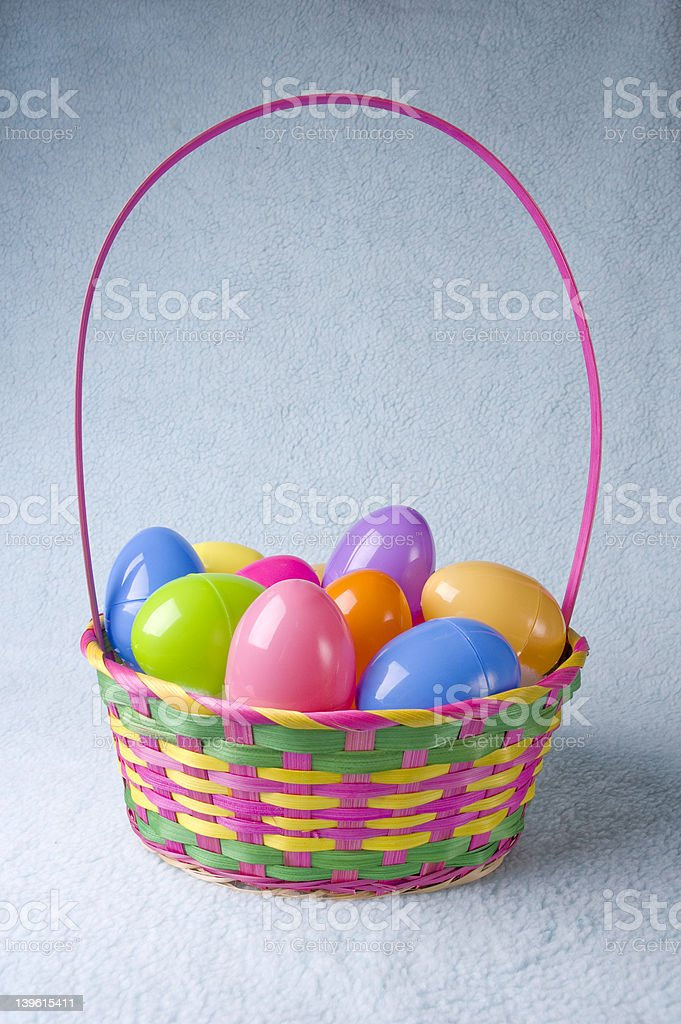 Easter basket full of eggs royalty-free stock photo