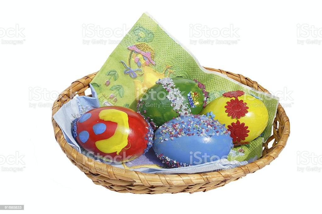 Easter basket of coloured eggs royalty-free stock photo