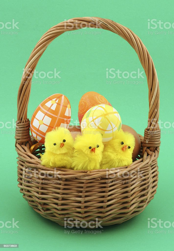 easter basket on green royalty-free stock photo