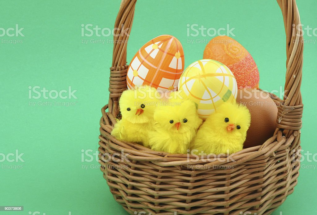 easter basket on green #2 royalty-free stock photo