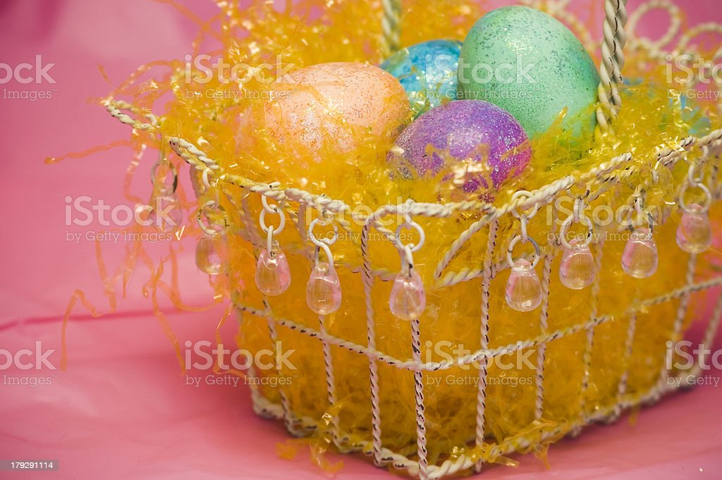 Easter Basket on Pink royalty-free stock photo