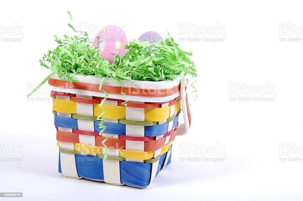 Easter Basket on White stock photo