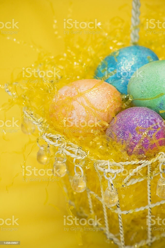 Easter basket on yellow royalty-free stock photo