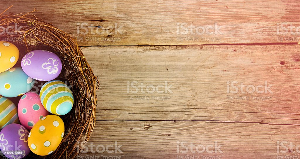 Easter Basket with Colored Eggs stock photo