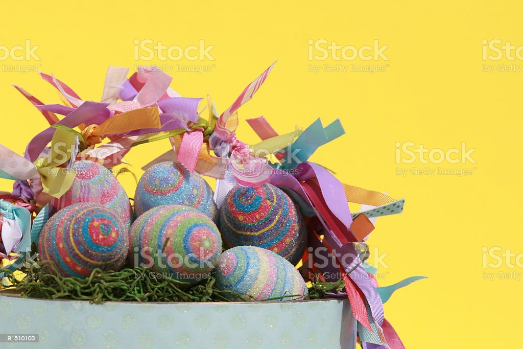 Easter Basket with colorful eggs royalty-free stock photo