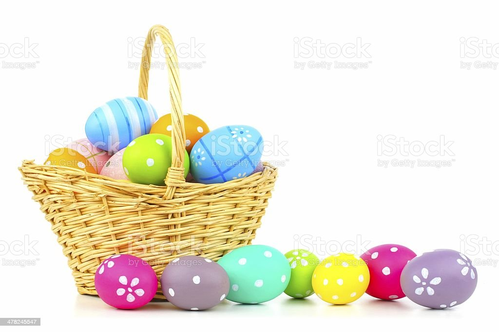 Easter basket with eggs over white stock photo