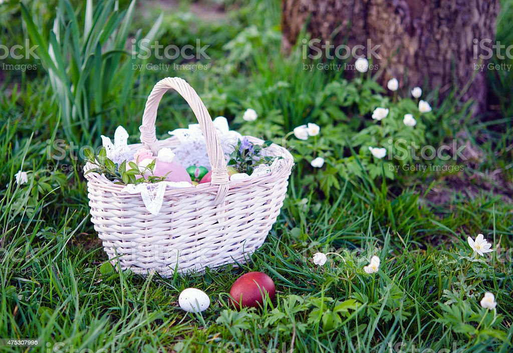 Easter basket with food stock photo