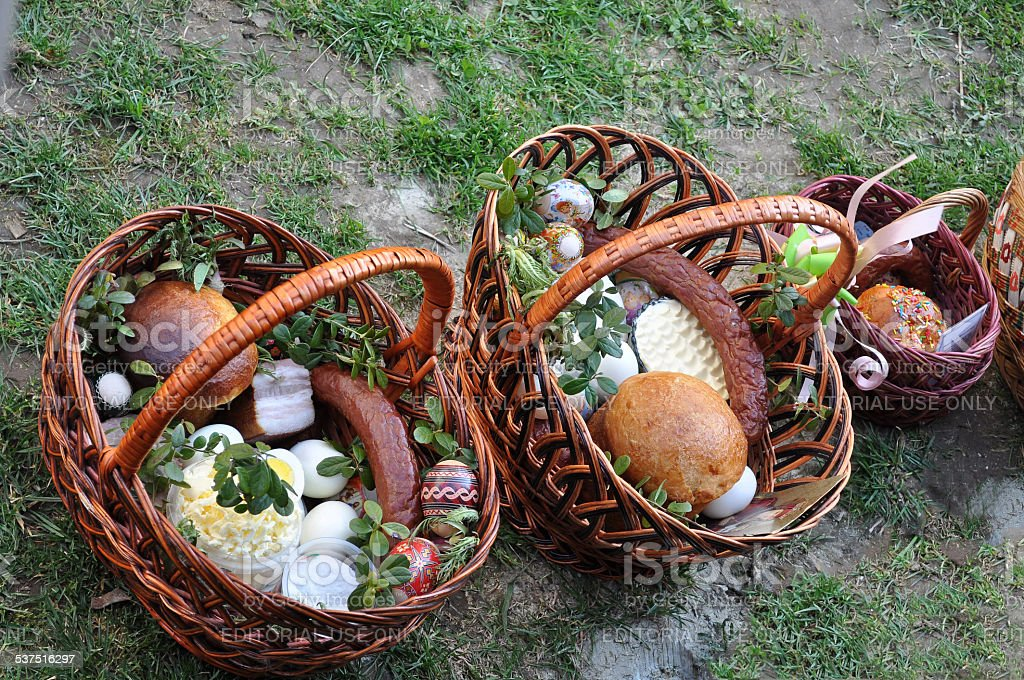 Easter basket with food. stock photo