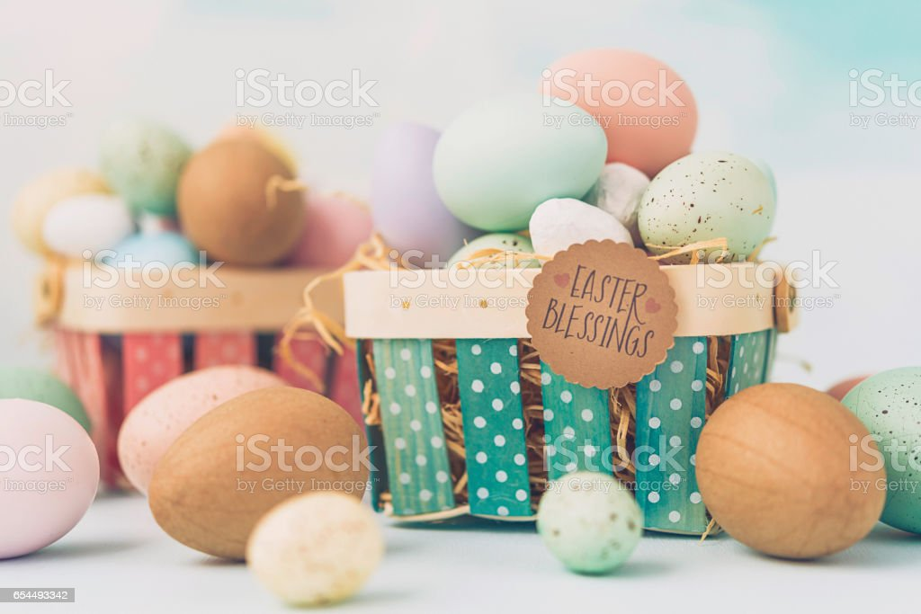 Easter Blessings message on Easter basket stock photo