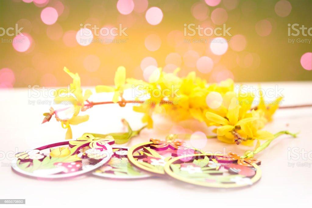 Easter bokeh background stock photo