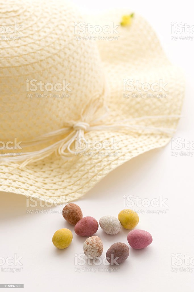 Easter bonnet and eggs royalty-free stock photo
