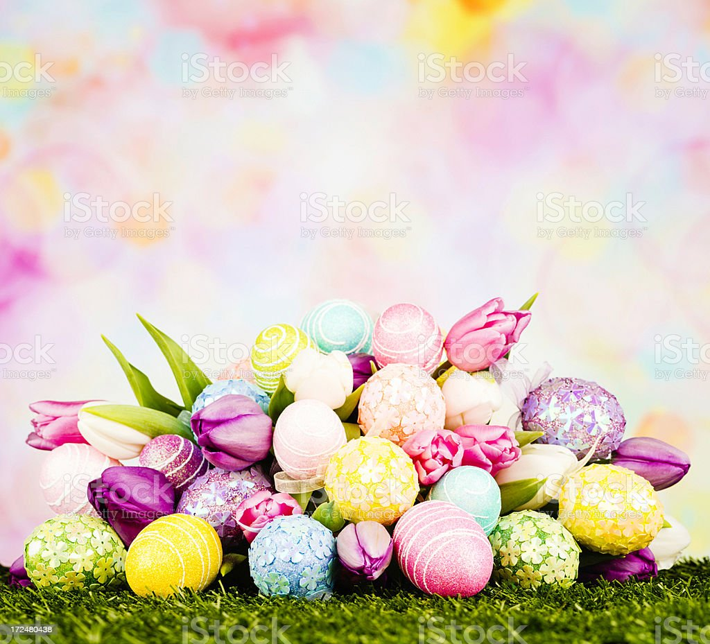 Easter Bouquet with Egg Decorations royalty-free stock photo