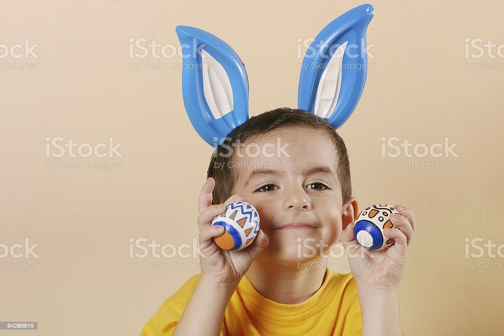 Easter boy with eggs 7 royalty-free stock photo