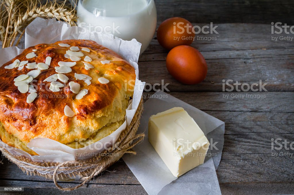 Easter bread on rustic wood background stock photo