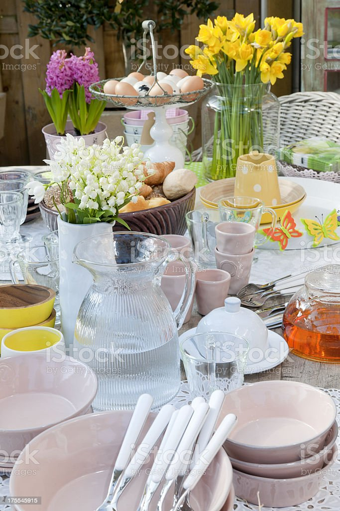 Easter breakfast on picnic table royalty-free stock photo
