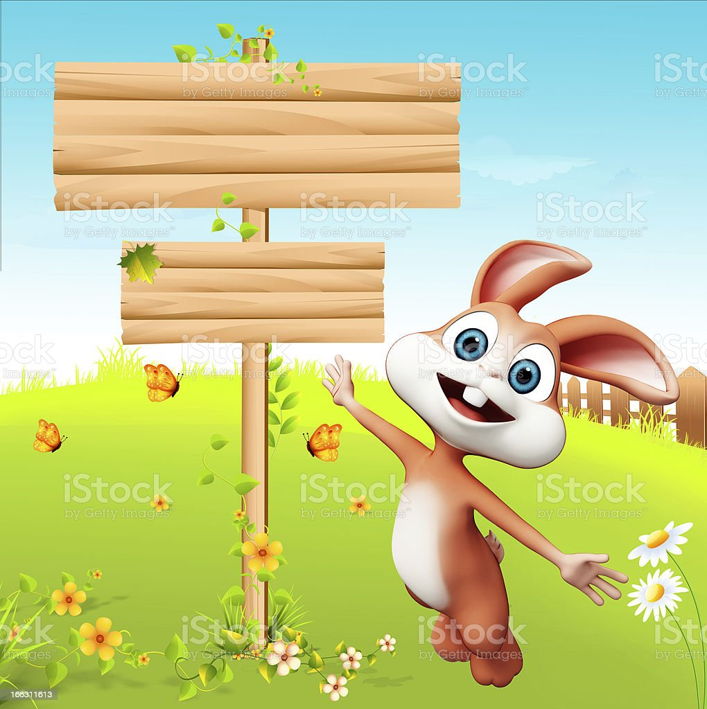 Easter brown bunny with wooden sign royalty-free stock photo