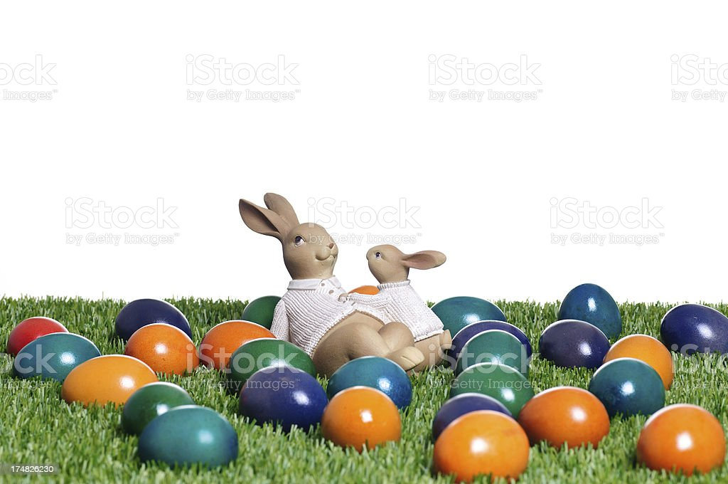 Easter bunnies with eggs royalty-free stock photo