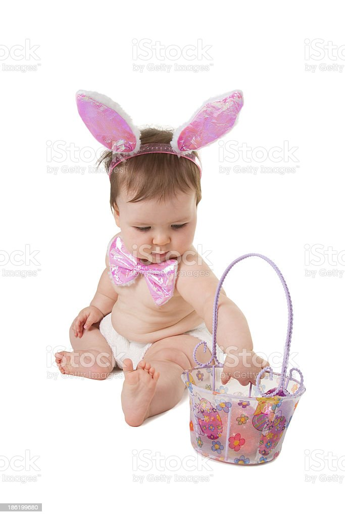 Easter Bunny and basket. royalty-free stock photo