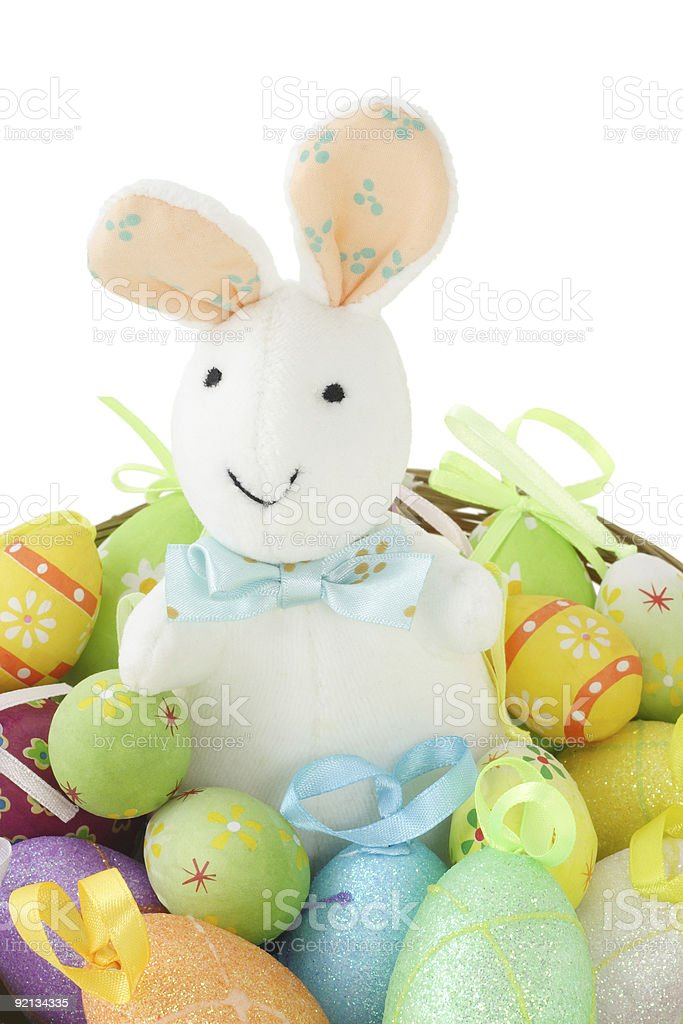 Easter bunny and colorful eggs royalty-free stock photo