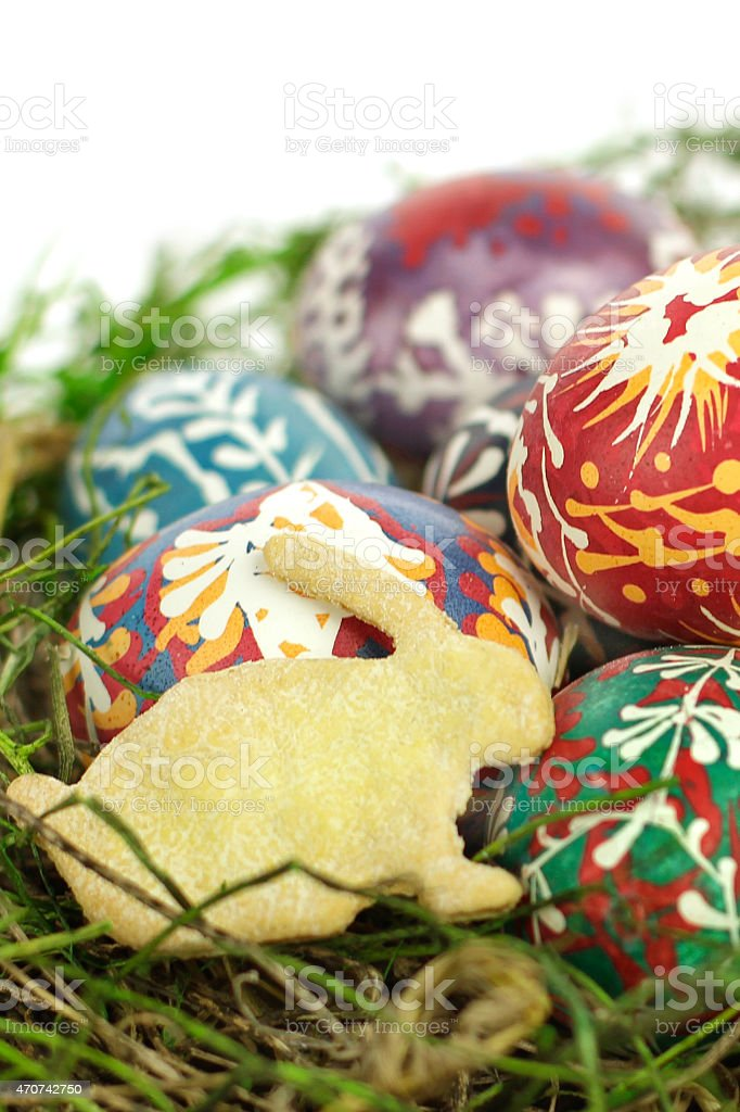 Easter bunny and eggs close-up stock photo