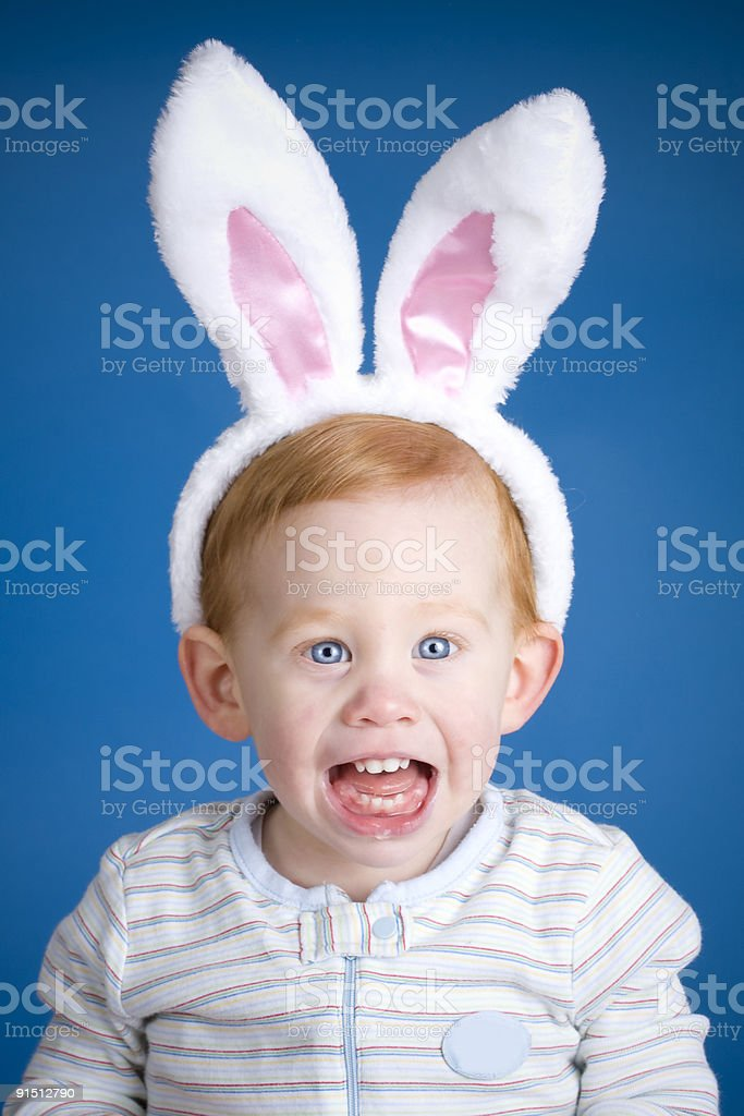 Easter bunny boy stock photo