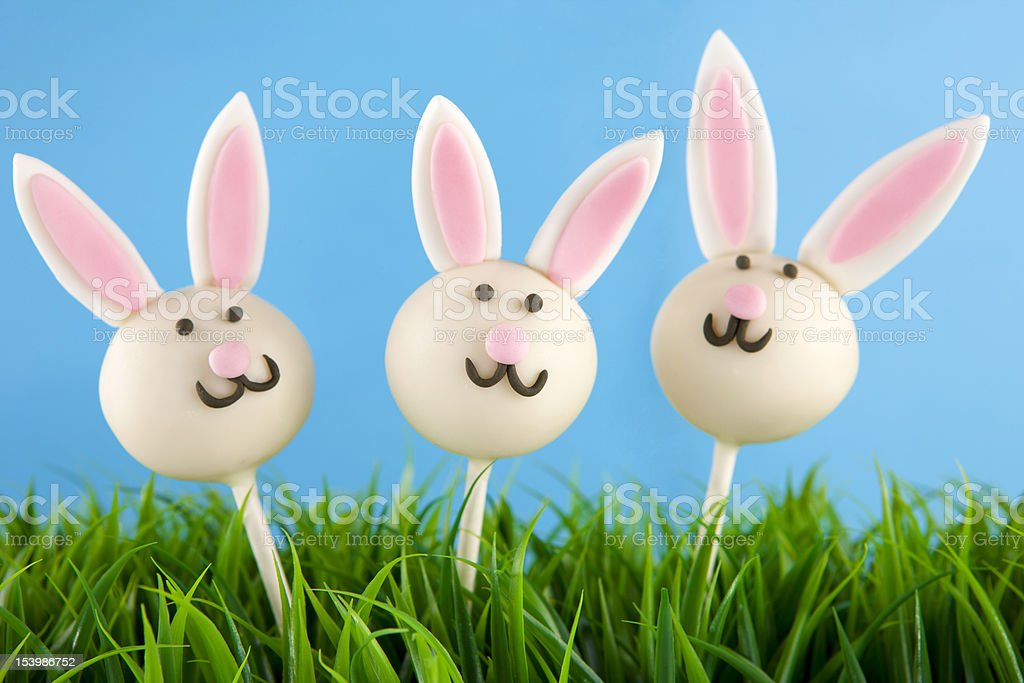 Easter bunny cake pops royalty-free stock photo
