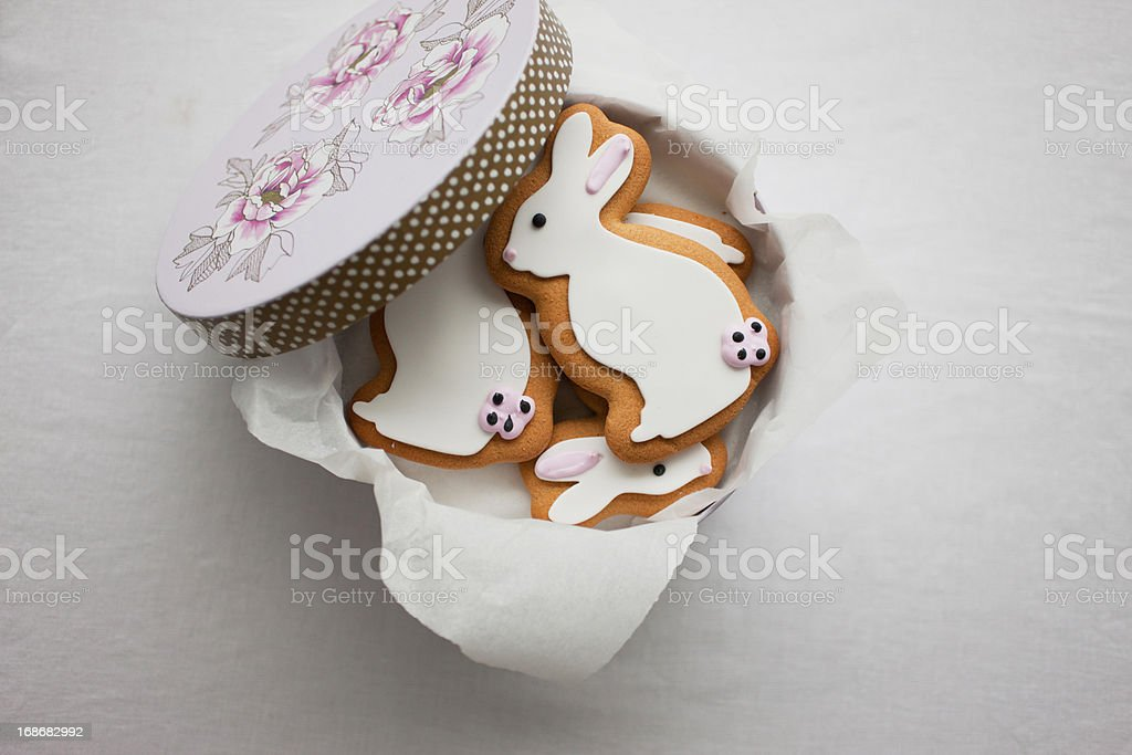 Easter Bunny cookies in round box stock photo