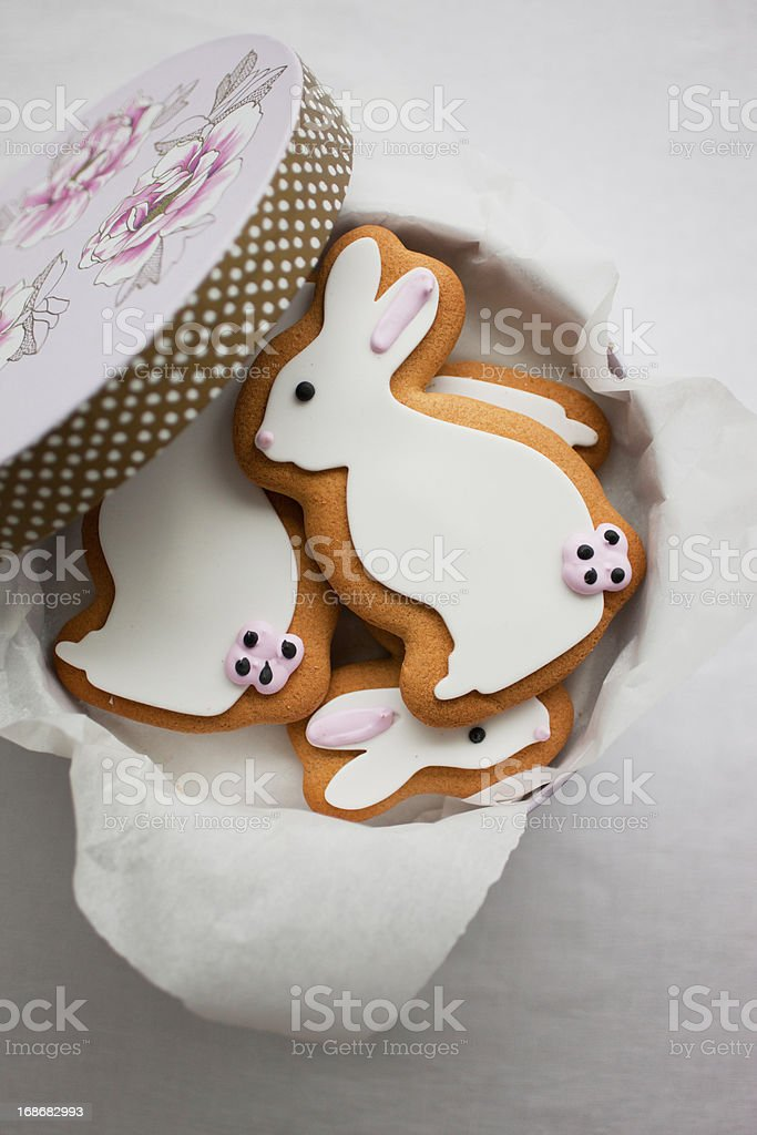 Easter Bunny cookies in round box royalty-free stock photo