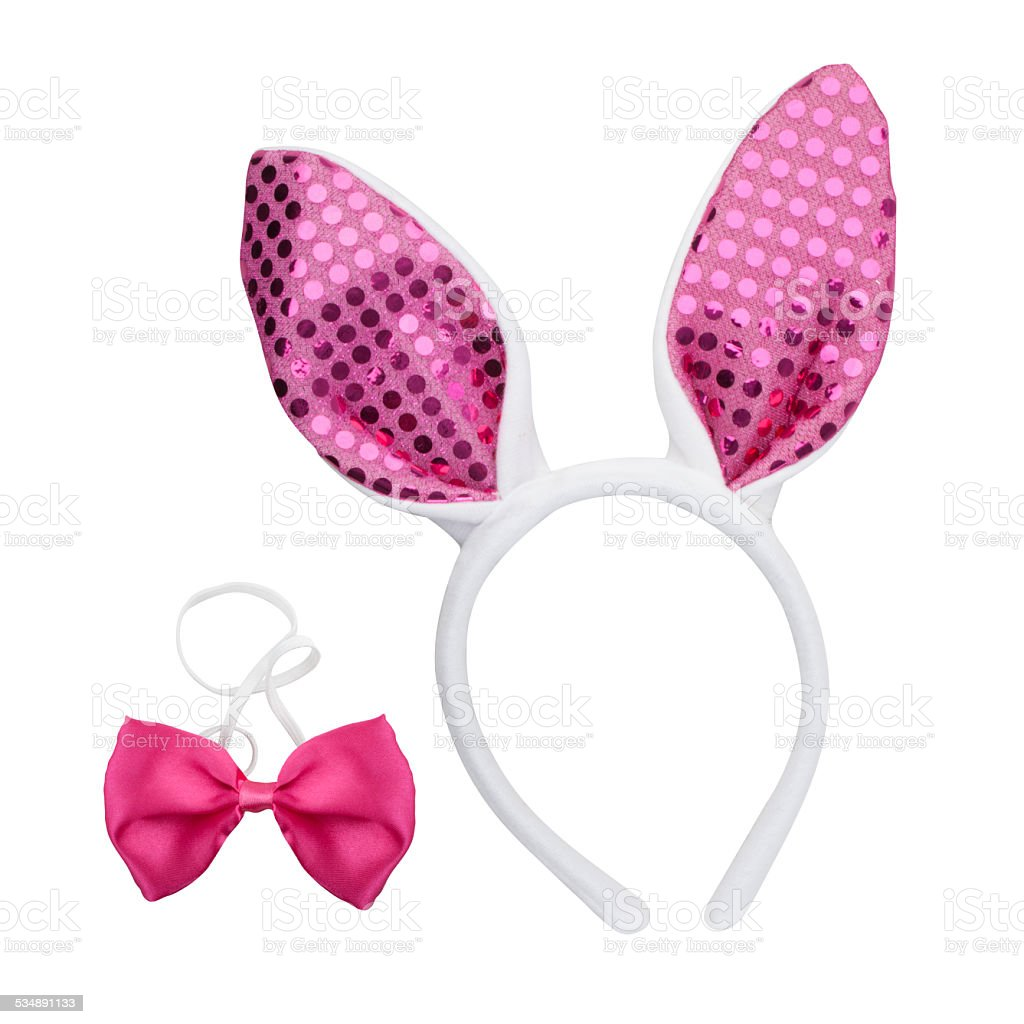 Easter Bunny Ears and pink bow tie stock photo