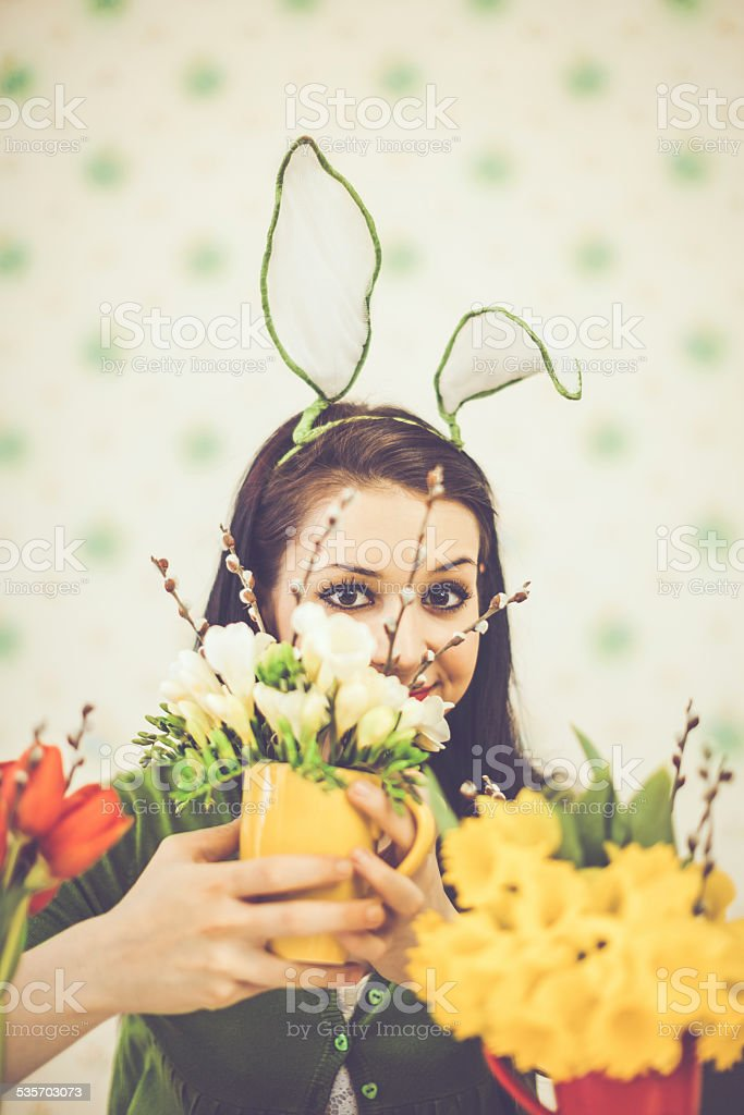 Easter bunny girl stock photo