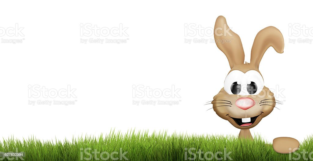 easter bunny green grass. happy easter 3d render stock photo