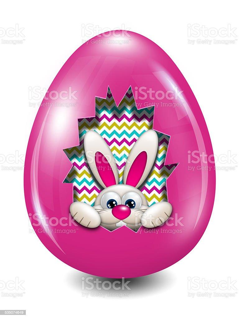 easter bunny hidden in egg hollow over white stock photo