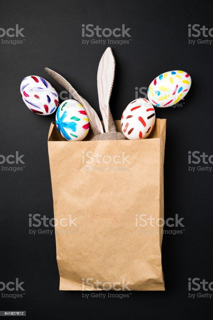 Easter bunny in a packet stock photo