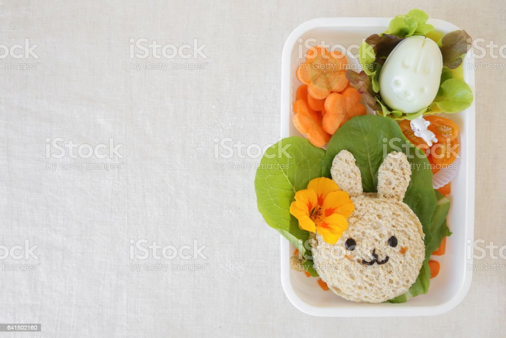 Easter Bunny lunch box, fun food art for kids stock photo