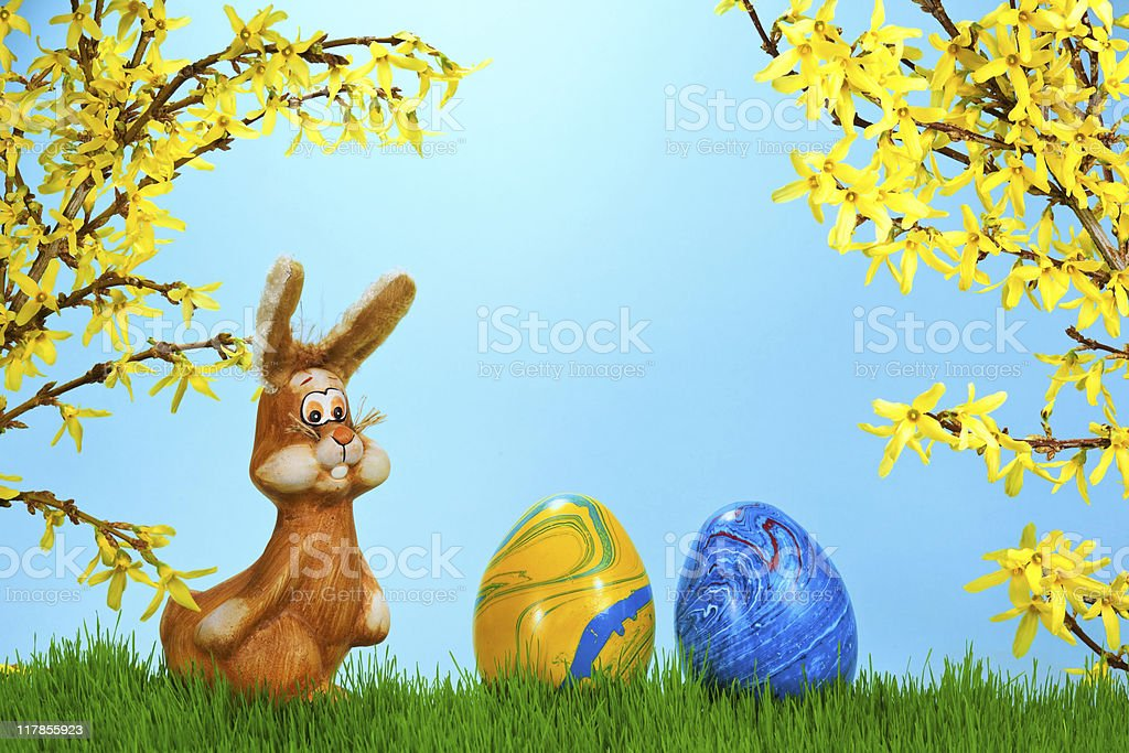 Easter Bunny on a spring meadow royalty-free stock photo