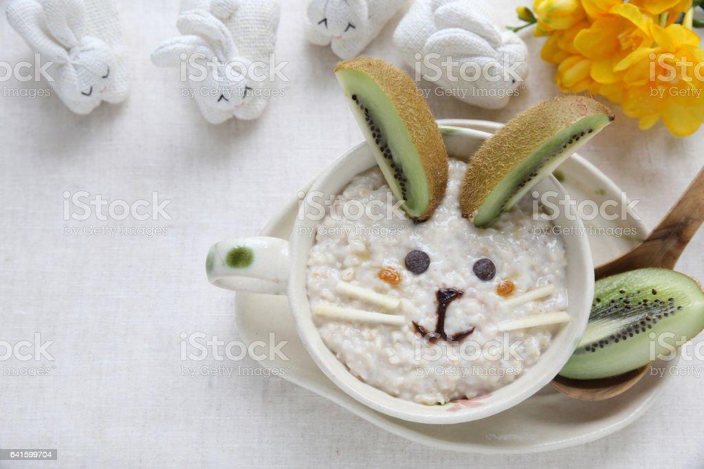 Easter Bunny rabbit porridge breakfast , food art for kids stock photo
