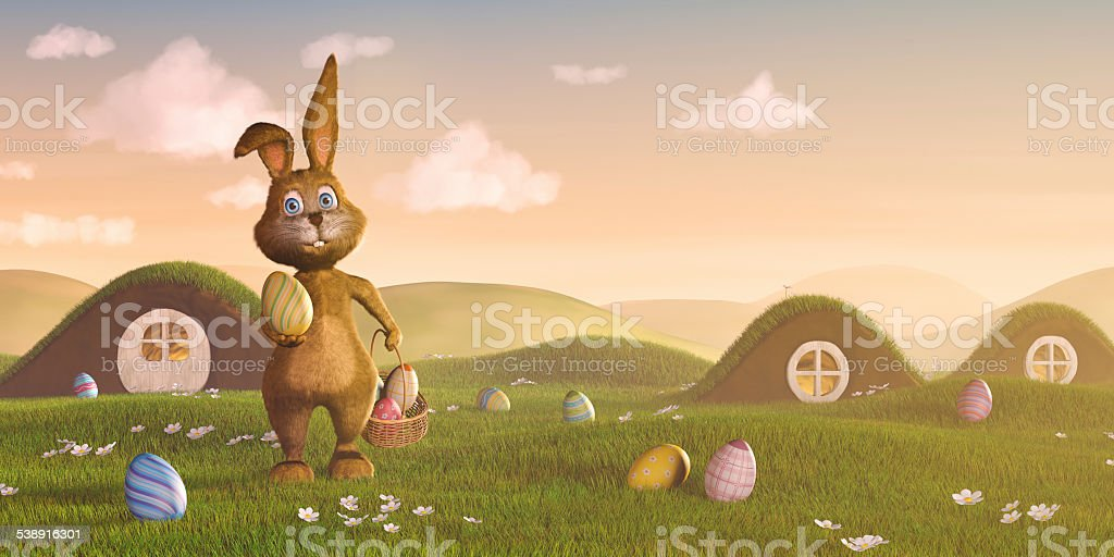 Easter bunny with a basket and eggs vector art illustration
