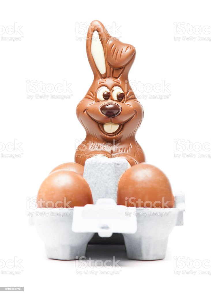 easter bunny with chocolate eggs royalty-free stock photo