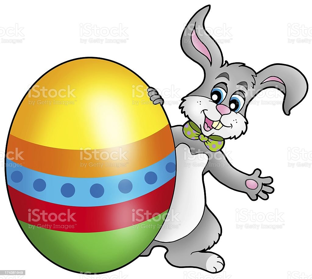 Easter bunny with colorful egg royalty-free stock photo