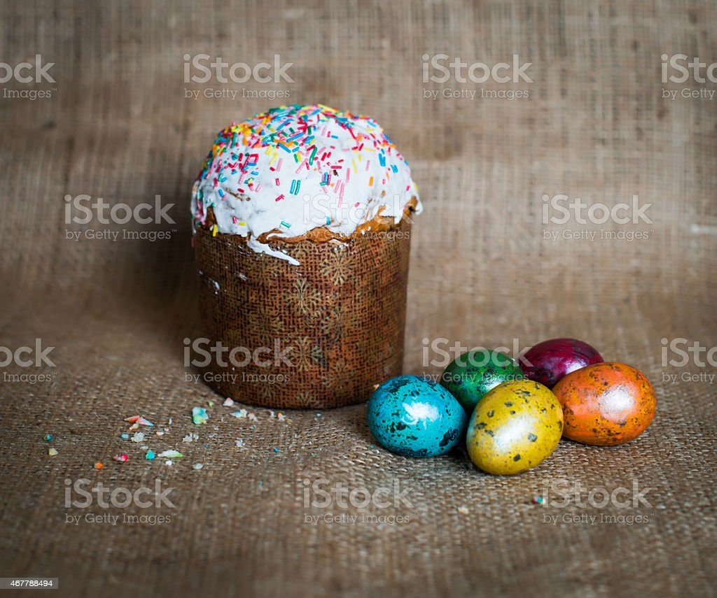 Easter cake and easter eggs. stock photo