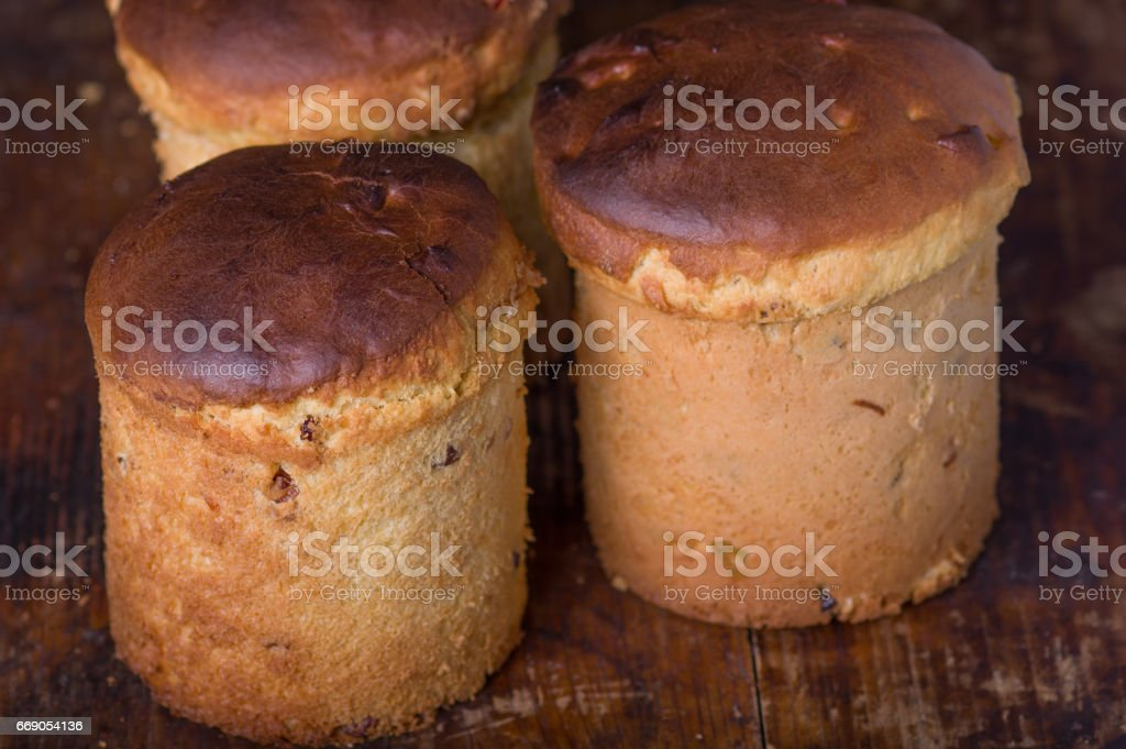 Easter cake bread of home baking on old wooden cutting board stock photo