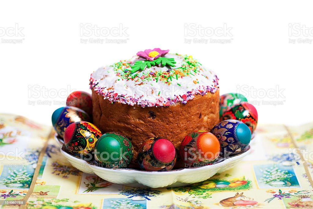 Easter cake kulich surrounded by colored eggs on the plate stock photo
