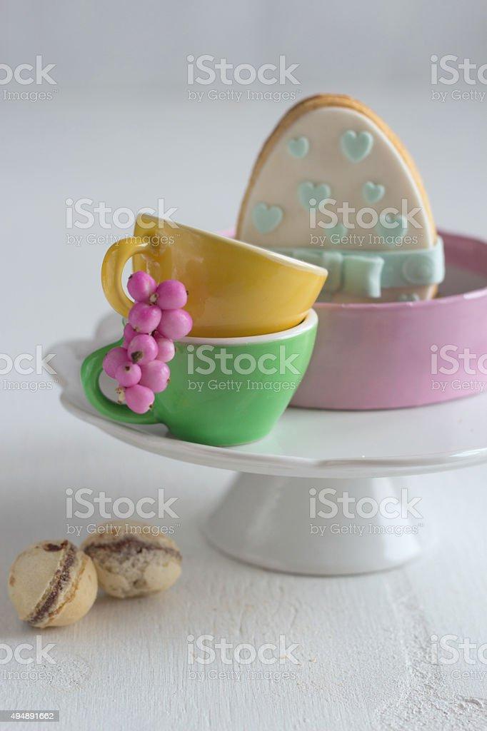 Easter cake - mazurek and easter candies stock photo