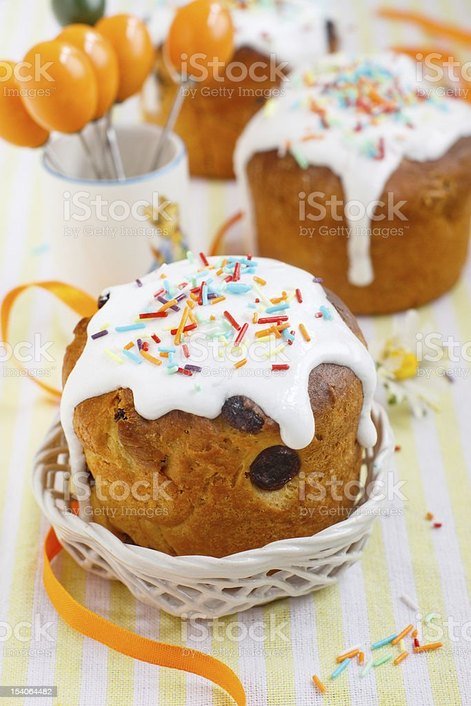 Easter cake on festive table royalty-free stock photo