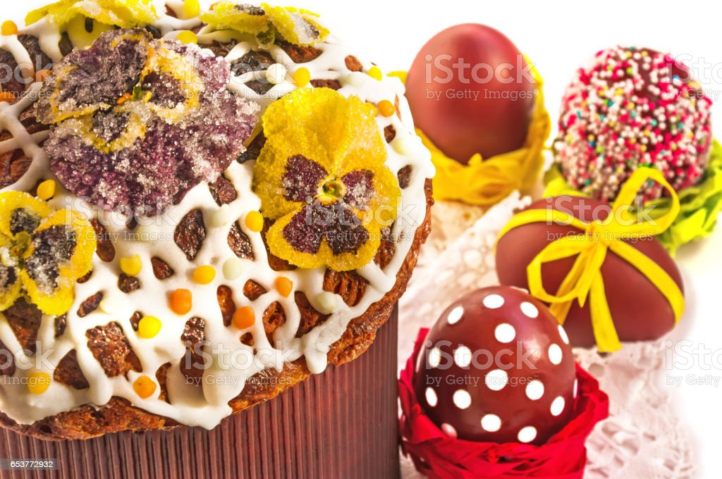 Easter cake with candied flowers and pasch eggs. stock photo