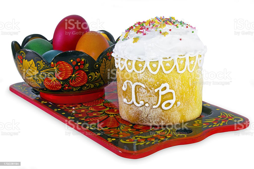 Easter cake with eggs. royalty-free stock photo