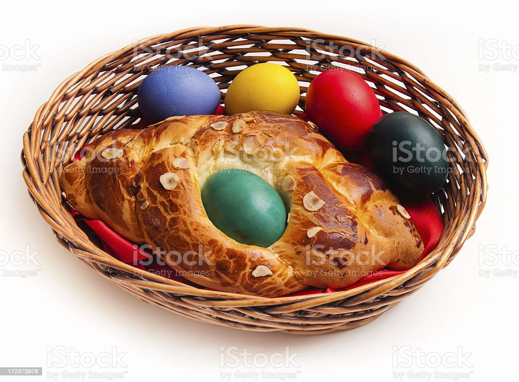 Easter cake with eggs stock photo